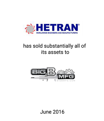 Griffin Advises Hetran, Inc., Debtor-in-Possession, on 363 Sale of Assets