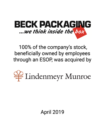 Lindenmeyr Munroe Acquires the Outstanding Stock of Beck Holding Corporation