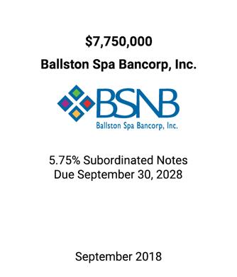 Griffin Serves as Financial Advisor to Ballston Spa Bancorp, Inc.