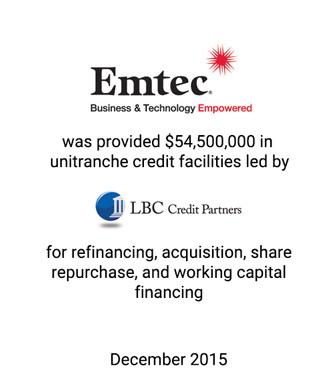 Griffin Represents Emtec in $55 Million Unitranche Financing Led by LBC Credit Partners