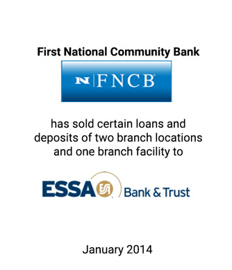 Griffin Serves as Financial Advisor to First National Community Bank