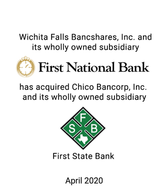 Griffin Advises Wichita Falls Bancshares, Inc. in its Merger with Chico Bancorp, Inc.