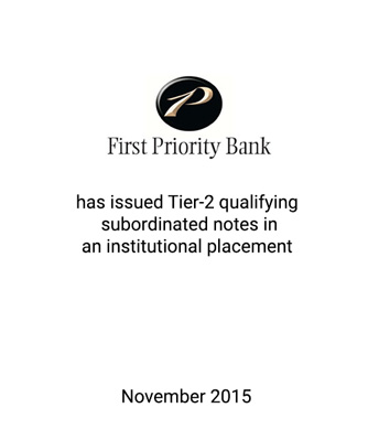 First Priority Bank Issues Subordinated Debt to Redeem Parent Preferred Stock