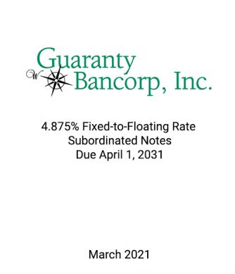 Griffin Serves as Exclusive Placement Agent to Guaranty Bancorp in Connection with its $13 Million Private Placement of Subordinated Notes