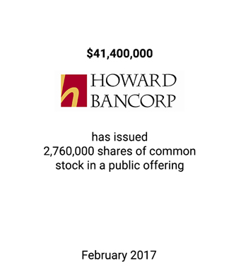 Griffin Serves as Financial Advisor to Howard Bancorp, Inc.