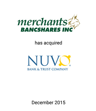 Griffin Advises Merchants Bancshares on Strategic Acquisition of NUVO Bank & Trust Company