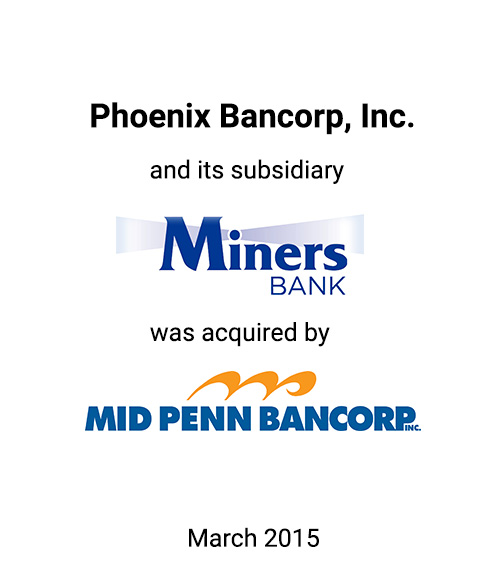 Griffin Financial Group Serves as Advisor to Phoenix Bancorp, Inc. in Connection with its Sale to Mid Penn Bancorp, Inc.