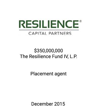 Resilience Capital Partners Closes The Resilience Fund IV at its $350 Million Hard Cap and Was Oversubscribed