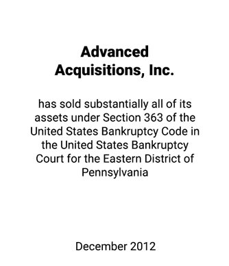 Griffin Advises American Architectural, Inc., Debtor-in-Possession and Advanced Acquisitions, Inc., Debtor-in-Possession on 363 Sale of Assets
