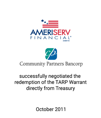 Griffin Serves as Investment Banker for the AmeriServ Financial Valuation and the Community Partners Bancorp Valuation