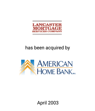 Griffin Serves as Financial Advisor to Lancaster Mortgage Services Company