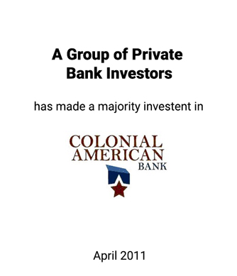 Griffin Serves as Advisor to Colonial American Bank in its Placement of Common Equity