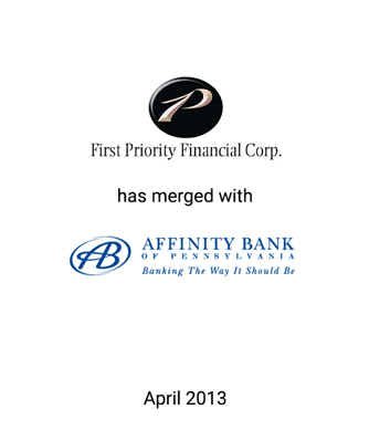 Griffin Financial Advises First Priority Financial Corp. in its Merger with Affinity Bancorp, Inc.