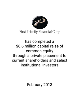 Griffin Serves as Exclusive Financial Advisor and Placement Agent to First Priority Financial Corp.