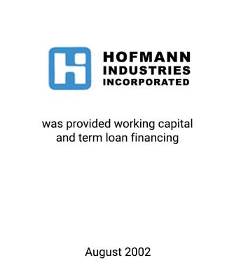 Griffin Serves as Financial Advisor to Hofmann Industries, Inc.
