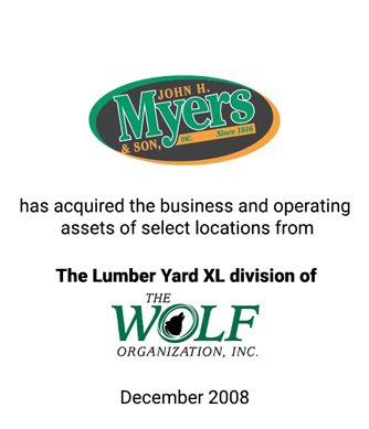 Griffin Advises John H. Myers & Son, Inc. in Acquisition of the Lumber Yard XL Division of Wolf Organization, Inc.