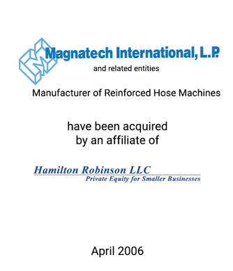 Griffin Represents Manufacturer of Reinforced Hose Machines in Sale to Private Equity Investors