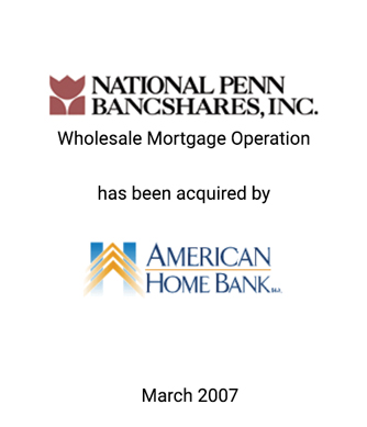 Griffin Serves as Exclusive Financial Advisor to National Penn Bancshares, Inc.