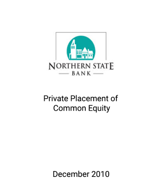 Griffin Serves as Advisor to Northern State Bank in its Placement of Common Equity