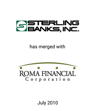 Griffin Advises Sterling Banks, Inc. in Merger with Roma Financial Corporation