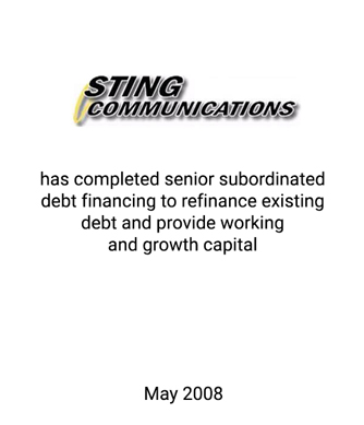 Griffin Completes Capital Raise for Sting Communications