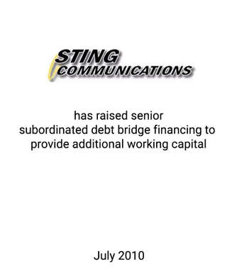 Griffin Serves as Exclusive Financial Advisor to Sting Communications