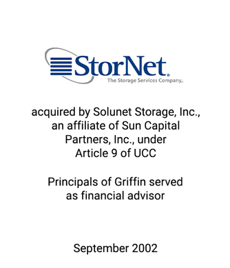 Griffin Serves as financial advisor to StoreNet