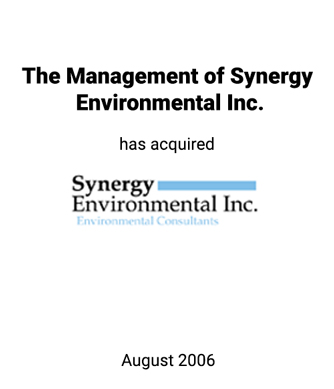 Griffin Serves as Exclusive Financial Advisor to Synergy Environmental Inc.