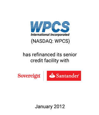 Griffin Assists WPCS International Incorporated Refinance its Senior Credit Facility